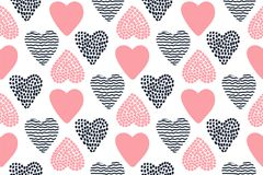 Modelo inconsútil con los corazones dibujados mano de la tarjeta del día de San Valentín fotografía de archivo libre de regalías