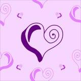 Modelo inconsútil con los corazones en púrpura y rosa Foto de archivo libre de regalías