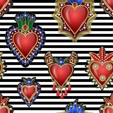 Modelo inconsútil con los corazones mexicanos tradicionales con el fuego y flores, lentejuelas bordadas, gotas y perlas Remiendos ilustración del vector