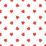 Modelo inconsútil con los corazones rojos en el fondo blanco Ejemplo del día de tarjetas del día de San Valentín Fotografía de archivo