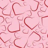 Modelo inconsútil con los corazones rojos en rosa stock de ilustración