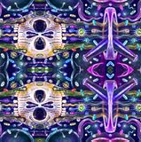 Modelo inconsútil con los cráneos Cráneo mexicano colorido lindo Ilustración ilustración del vector