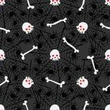 Modelo inconsútil con los cráneos, huesos, spiderwebs stock de ilustración