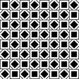 Modelo inconsútil con los cuadrados y los Rhombus blancos y negros Imagenes de archivo