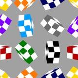 Modelo inconsútil con los cubos coloreados del ajedrez aislados en fondo gris Ilustración del vector para su agua dulce de design stock de ilustración
