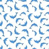 Modelo inconsútil con los delfínes Ilustración del vector Imagenes de archivo