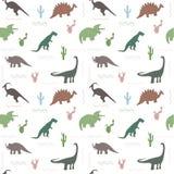 Modelo inconsútil con los dinosaurios de los multicolors y la hoja brillante en el fondo blanco ilustración del vector