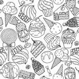 Modelo inconsútil con los dulces y el helado ilustración del vector