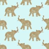Modelo inconsútil con los elefantes abstractos agradables del brillo Sus troncos aumentaron para arriba - símbolo de la buena sue Imagenes de archivo