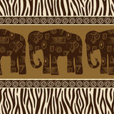 Modelo inconsútil con los elefantes y la piel de la cebra. Imagen de archivo libre de regalías
