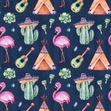 Modelo inconsútil con los elementos étnicos mexicanos: cactus, sombrero, maracas, tienda de los indios norteamericanos, guitarra fotos de archivo libres de regalías