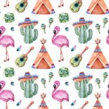 Modelo inconsútil con los elementos étnicos mexicanos: cactus, sombrero, maracas, tienda de los indios norteamericanos, guitarra, imagen de archivo