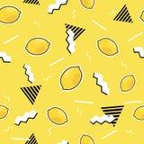 Modelo inconsútil con los elementos del limón en estilo cómico de la historieta 80s-90s Fondo del vector Imagen de archivo libre de regalías