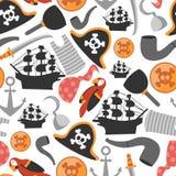 Modelo inconsútil con los elementos del pirata ilustración del vector