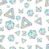 Modelo inconsútil con los elementos olográficos Estilo de Memphis Geometría abstracta Imagen de archivo libre de regalías