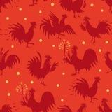 Modelo inconsútil con los gallos en diversas actitudes ilustración del vector
