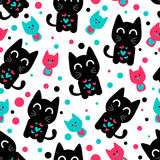 Modelo inconsútil con los gatitos divertidos lindos Imagen de archivo libre de regalías