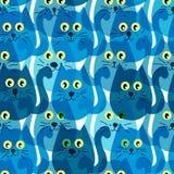 Modelo inconsútil con los gatos azules lindos ilustración del vector