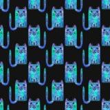Modelo inconsútil con los gatos de la historieta Fondo a mano Ilustración del vector Foto de archivo libre de regalías