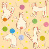 Modelo inconsútil con los gatos divertidos Fotos de archivo libres de regalías