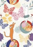 Modelo inconsútil con los gatos y las mariposas Imagen de archivo
