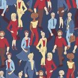 Modelo inconsútil con los hombres de negocios el caminar Ejemplo del estilo de la historieta con los hombres y la mujer ilustración del vector