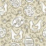 Modelo inconsútil con los HUEVOS de PASCUA, las flores, las hojas, el polluelo y la gallina en fondo beige Elementos decorativos  libre illustration