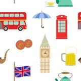 Modelo inconsútil con los iconos de Inglaterra ilustración del vector