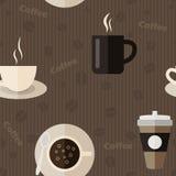Modelo inconsútil con los iconos del café en diseño plano Imágenes de archivo libres de regalías