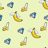 Modelo inconsútil con los iconos del kline de los plátanos del vuelo y los diamantes - garabatee el fondo abstracto libre illustration