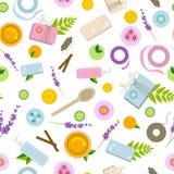 Modelo inconsútil con los ingredientes y las herramientas para los cosméticos naturales hechos a mano stock de ilustración
