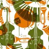 Modelo inconsútil con los instrumentos de música stock de ilustración