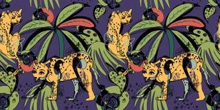 Modelo inconsútil con los leopardos y las hojas tropicales Imagenes de archivo