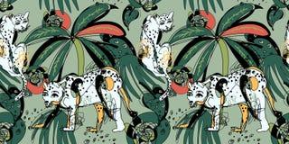 Modelo inconsútil con los leopardos y las hojas tropicales Fotos de archivo libres de regalías