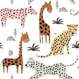 Modelo inconsútil con los leopardos y las jirafas fondo para la tela, materia textil, papel pintado stock de ilustración