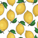 Modelo inconsútil con los limones amarillos - ejemplo Fotografía de archivo