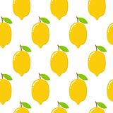 Modelo inconsútil con los limones en el fondo blanco Ilustración del vector stock de ilustración