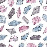 Modelo inconsútil con los minerales, cristales, gemas fondo colorido dibujado mano del vector Foto de archivo