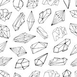 Modelo inconsútil con los minerales, cristales, gemas Fondo dibujado mano del vector del contorno Fotografía de archivo libre de regalías