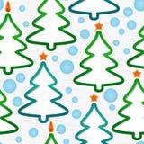 Modelo inconsútil con los Navidad-árboles Fotografía de archivo libre de regalías