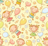 Modelo inconsútil con los niños y los globos stock de ilustración