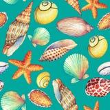 Modelo inconsútil con los objetos subacuáticos de la vida, aislados en fondo de la turquesa Diseño-SHELL marino, estrella de mar  Imágenes de archivo libres de regalías