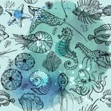 Modelo incons?til con los organismos vivos del agua profundo de la acuarela libre illustration
