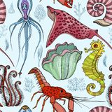 Modelo inconsútil con los organismos vivos profundos exhaustos de la mano stock de ilustración