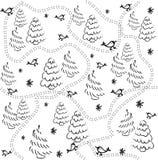 Modelo inconsútil con los pájaros, los árboles de navidad y la nieve Bosquejo del drenaje de la mano Vector ilustración del vector