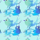Modelo inconsútil con los pájaros azules y verdes Fondo feliz Pascua feliz foto de archivo