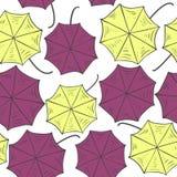 Modelo inconsútil con los paraguas coloridos Visión desde arriba Ilustración del vector Foto de archivo libre de regalías