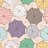 Modelo inconsútil con los paraguas coloridos Visión desde arriba Ilustración del vector Fotografía de archivo libre de regalías