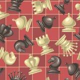 Modelo inconsútil con los pedazos de ajedrez Fotos de archivo libres de regalías