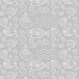 Modelo inconsútil con los pescados, cáscaras Imagen de archivo libre de regalías
